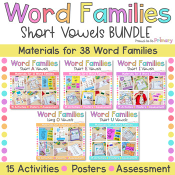 Word Family Activities for Short Vowels Bundle