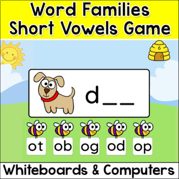 Word Families Short Vowels Game for Interactive Whiteboards, Tablets & Computers