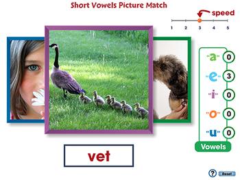 Word Families Short Vowels: Short Vowels Picture Match - PC Gr. PK-2