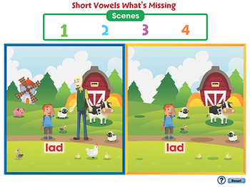 Word Families Short Vowels: Short Vowels What's Missing - NOTEBOOK Gr. PK-2