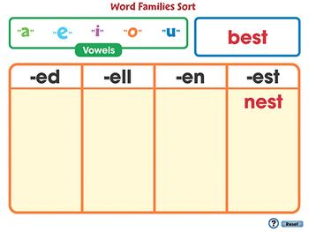 Word Families Short Vowels: Word Families Sort - MAC Gr. PK-2