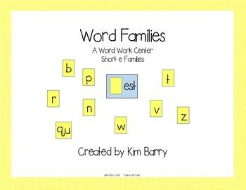 Word Families Short e Set