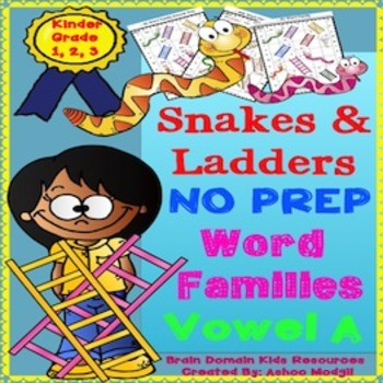 Free Word Families Snakes and Ladders Activities:Vowel A