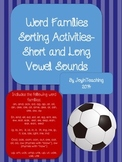 Word Families Sorting Activities-Short and Long Vowel Sounds-53 Word Sorts
