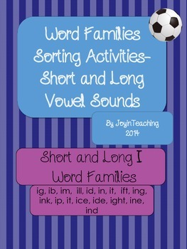 Word Families Sorting Activities:Short and Long I Word Families-10 Sorts