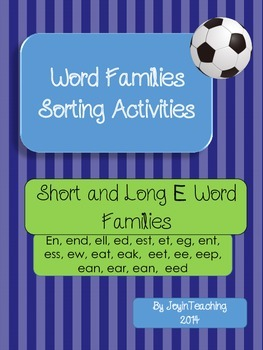 Word Families Sorting Activities:Short and Long E Word Families-11 Sorts