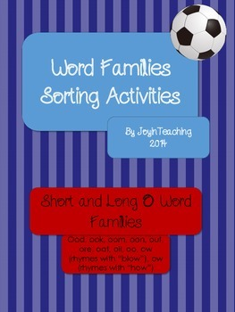 Word Families Sorting Activities:Short and Long O Word Families-12 Sorts
