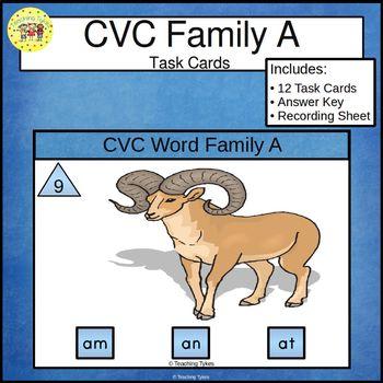 CVC Word Family Task Cards am an at