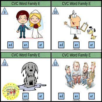 CVC Word Family Task Cards ed en et