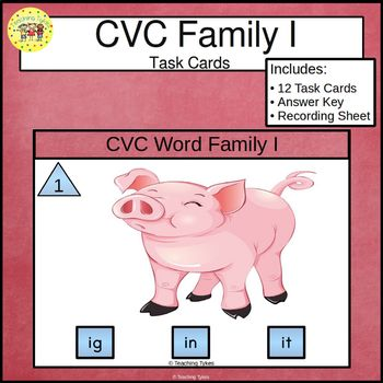 CVC Word Family Task Cards ig in it