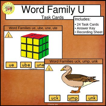 Word Family U Task Cards