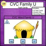CVC Word Family Task Cards ug un ut