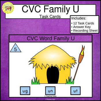 CVC Word Family Task Cards ug un ut