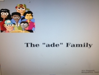 """Word Families: The """"ade"""" Family"""