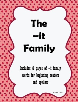 Word Families: The -it Family