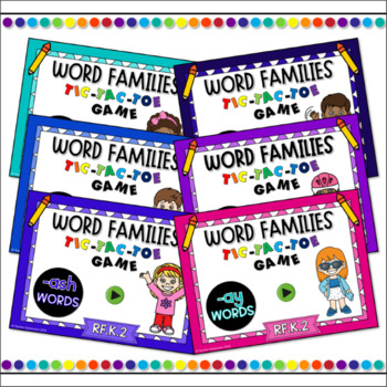 Word Families Tic-Tac-Toe Powerpoint Game Growing Bundle #1