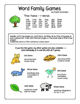Word Families - Tree Game