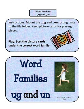Word Families UN and UG Picture Sort: File Folder Activity