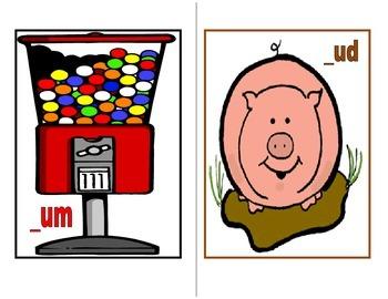 Word Families UT, UB, UM, and UD Picture Sort: File Folder Activity