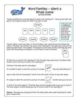 Word Families - Whale Game