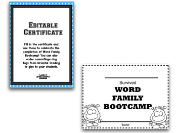 Word Families!  Word Family Bootcamp:  MONSTER THEME!