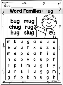 Word Families: Word Search Printables