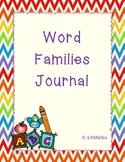 Word Families Word Work Journal