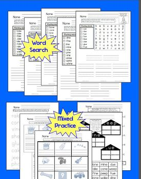 Word Families Word Work Long Vowels Pack CCSS No Prep! K  1st or 2nd