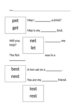 Word Families Worksheets 2