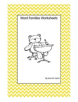 20 Word Families Worksheets + 3 bonus worksheets!