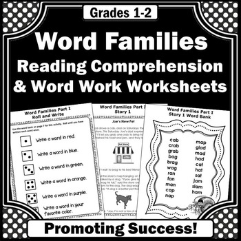 Word Families Activities 1st Grade Reading Comprehension Worksheets Phonics Unit