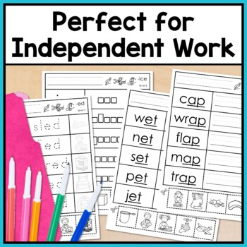 Word Families Worksheets: Write, Cut and Paste Activities for Special Education