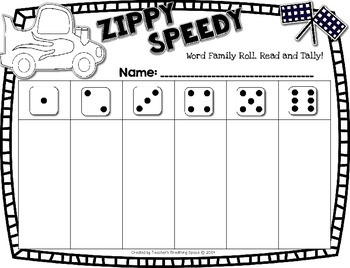 Roll and Read Word Families -- Zippy Speedy Roll and Read -- Word Family Game