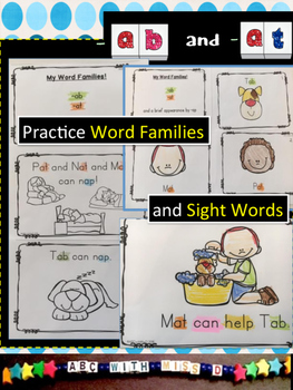 Word Families -ab and -at! CVC and sight word decodable and phonics activities