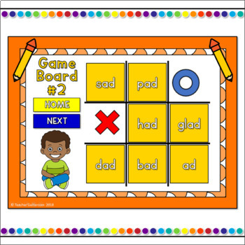 Word Families -ad Words Tic-Tac-Toe Powerpoint Game