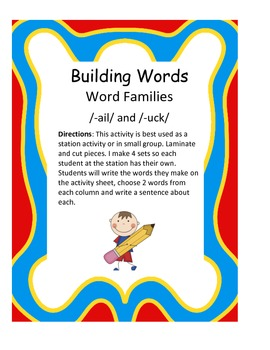 Word Families /-ail/ and /-uck/...Building Words Center an
