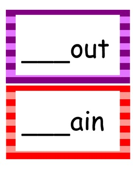 Word Families /-ain/ and /-out/...Building Words Center and Word Work