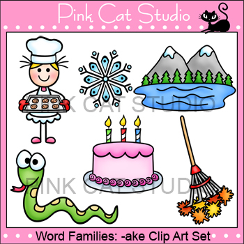Clip Art Rhyming Words: -ake Rime Word Family Clip Art Set - Commercial Use