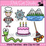 Rhyming Words Clip Art - bake, cake, rake, lake, flake, snake
