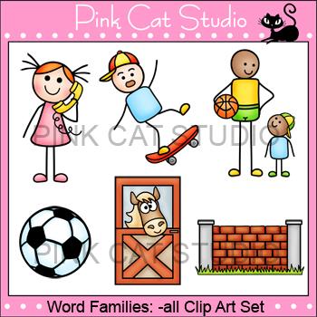Clip Art Rhyming Words: -all Rime Word Family Clip Art Set - ball, tall, wall