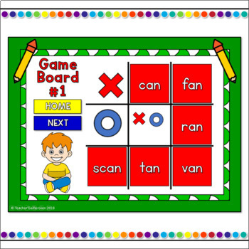 Word Families -an Words Tic-Tac-Toe Powerpoint Game