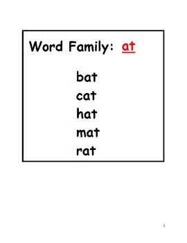 Word Families an, at, ap, ag, ad - Activity for students on Autism Spectrum