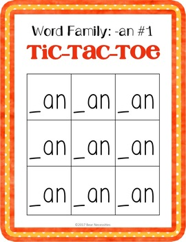 Word Families (-an, -at, -et, & -it) Tic-Tac-Toe