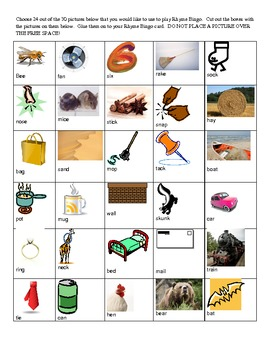Word Families and Rhyming- Rhyme Bingo