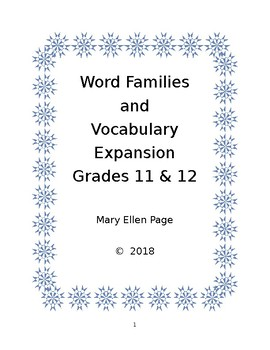 Word Families and Vocabulary Expansion  Gr. 11 & 12