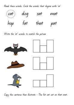 Word Families and rhyming words-printable worksheets