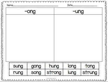 Word Families -ang, -ank, -ing, -ink, -onk, -ong, -unk, -ung