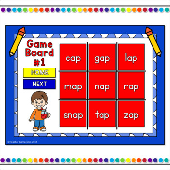 Word Families -ap Words Tic-Tac-Toe Powerpoint Game
