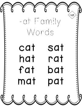 Word Families -at Freebie