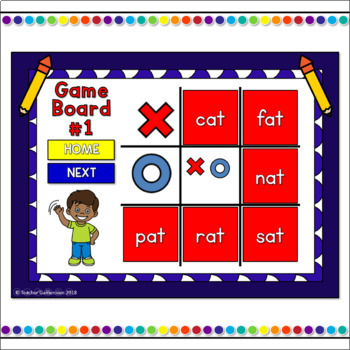 Word Families -at Words Tic-Tac-Toe Powerpoint Game